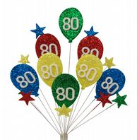 Bright balloons 80th birthday cake topper decoration - free postage